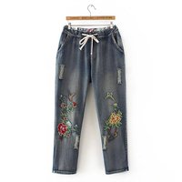Plus Size Embroidered Full Length Women Jeans Pants 2017 Ladies Drawstring Denim Cargo Pants Pocket Light