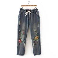 Plus Size Embroidered Full Length Women Jeans Pants 2017 Ladies Drawstring Denim Cargo Pants Pocket Light