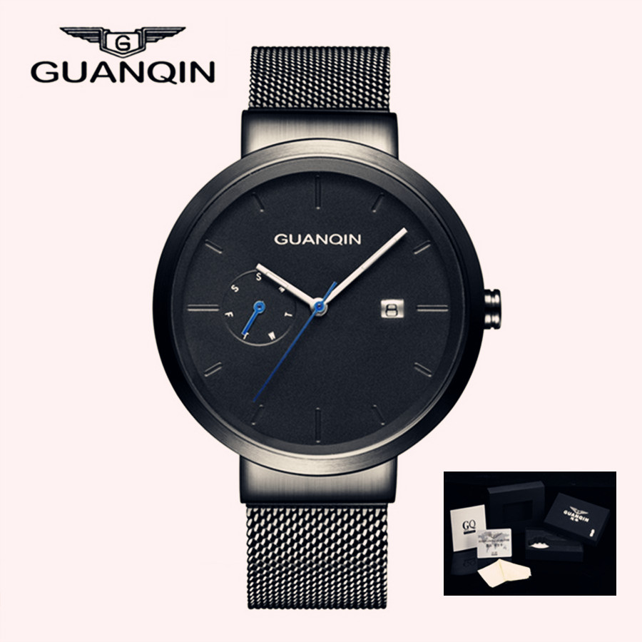 GUANQIN 2018 Fashion Date Watch Stainless Steel Watch for Man Quartz Analog Male Luminous Quartz Wristwatches Calendar Clock цена