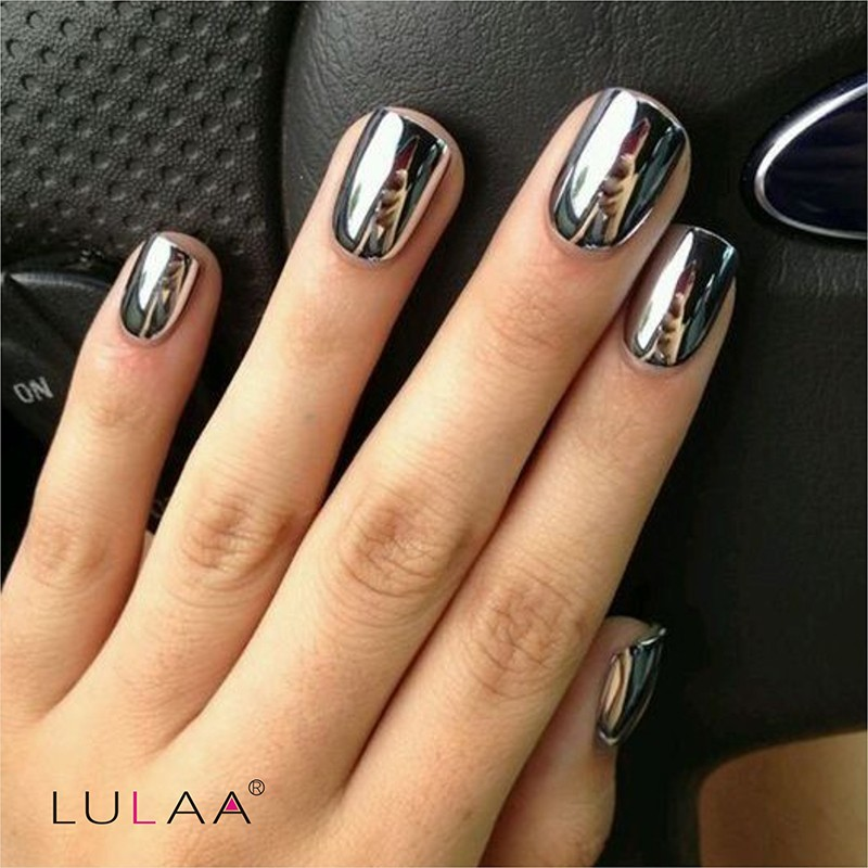 2016 fashion 2pc/lot 6ml Silver Mirror Effect Metal Nail Polish ...