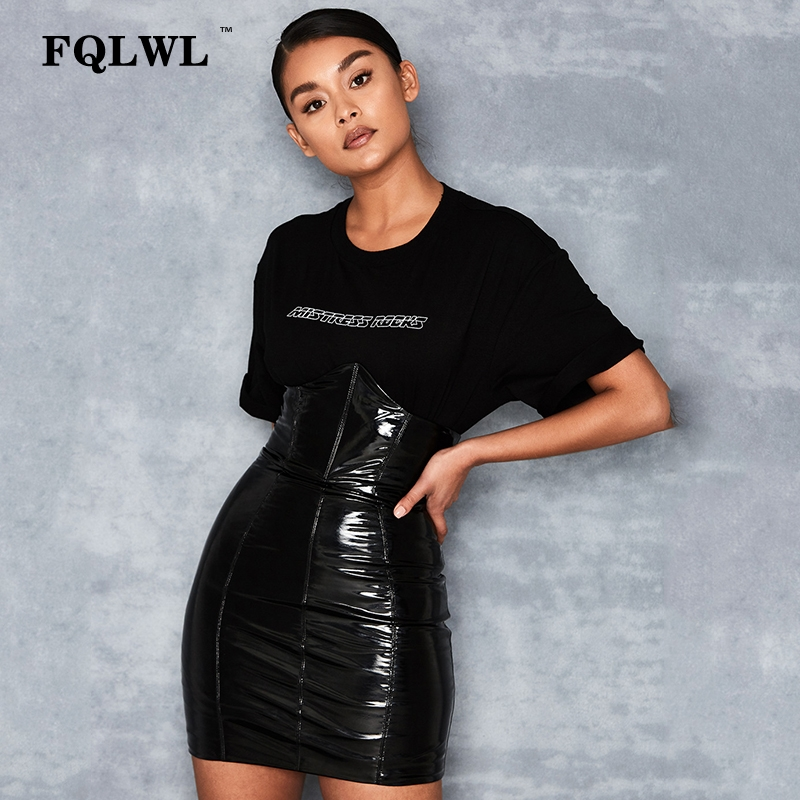 HTB1SRueXyjrK1RjSsplq6xHmVXa3 - FQLWL Faxu Latex Pu Leather Skirt For Woman Zipper Black/High Waisted/Pencil Skirts Womens Autumn Wrap Sexy Mini Skirt Female