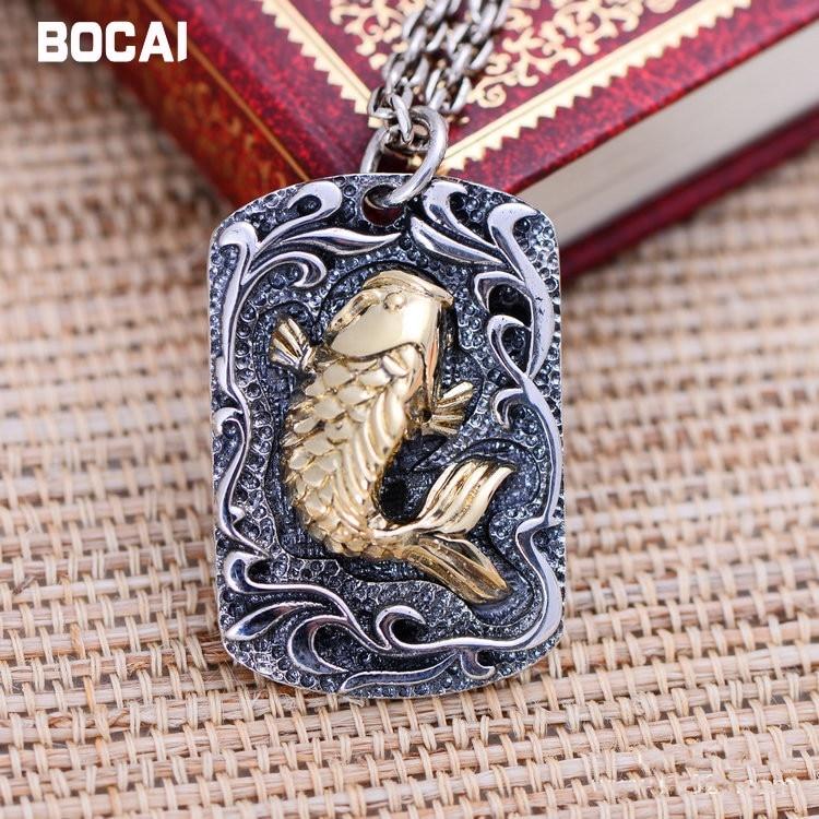 Noir argent bijoux en gros 925 bijoux en argent sterling annuel petits poissons carpe Zhaocai mâle Pendentif 039866 w