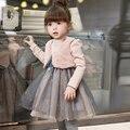 Niñas vestidos de los niños ropa de invierno ropa de niño dos más pequeño ma3 jia3 empalme neto hilo bebé de moda vestido de princesa vestido