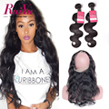 360 Lace Frontal With Bundle Brazilian Body Wave With Closure 360Lace Frontal Closure With Bundles Human Hair With 360 Closure