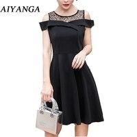 AIYANGA 2018 Summer Dress Women Patchwork Lace Dress Hollow Sexy Off Shoulder Slim A line Dresses Solid Black S 2XL