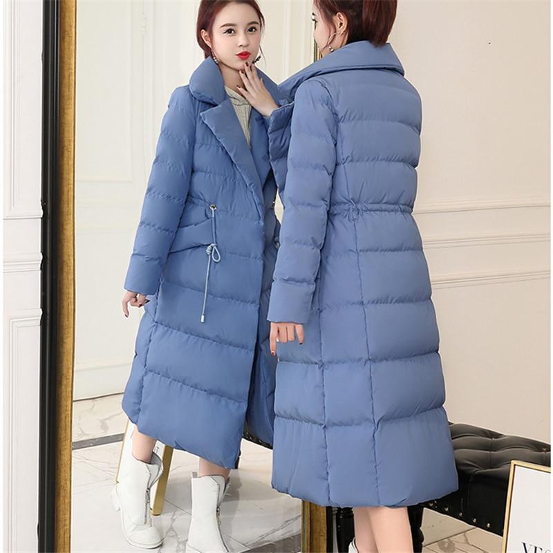 Slim Mode red Coton Longue Épais Genou Nouvelle Black Blue Sur Le Haute Manteau Section Veste Hiver 2018 smoky Hjb415 Qualité Femelle SSRwqP6B
