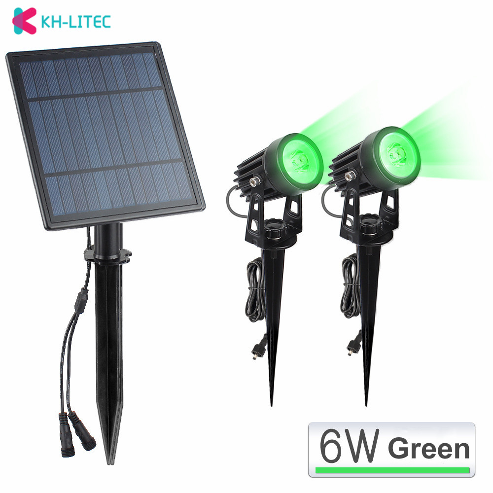 2W Solar Spotlights IP65 Waterproof Outdoor Solar Lights Landscape Lighting Wall Light 2 Green Dual Spot Headlamp For Garden