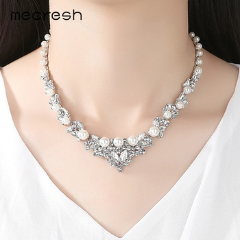 Mecresh Elegant Simulated Pearl Bridal Jewelry Sets Silver Color Leaf Crystal Necklaces 1