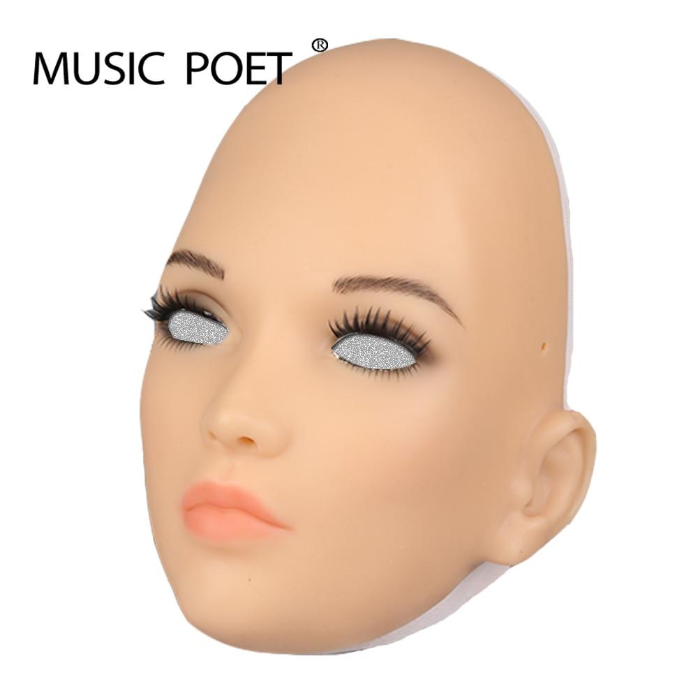 Máscaras femeninas realistas de silicona poetisa de música máscaras de Halloween cosplay drag queen cruzado masculino a femenino-in Antifaces de fiesta from Hogar y Mascotas    1