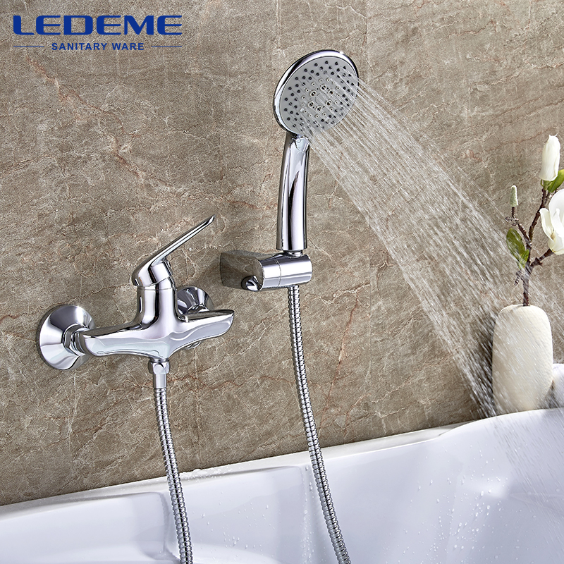 LEDEME New Bathroom Shower Classic Bathroom Shower Faucet Bath Faucet Mixer Tap With Hand Shower Head Set Wall Mounted L2048 us bathroom shower faucet wall mounted bath shower mixer tap 52004 torneira do chuveiro with hand shower rain shower faucet