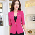 2016 Spring Fashion work wear Jacket Women half Sleeves V-neck Coat Candy Color feminino Blazer ladies Vogue casual office top