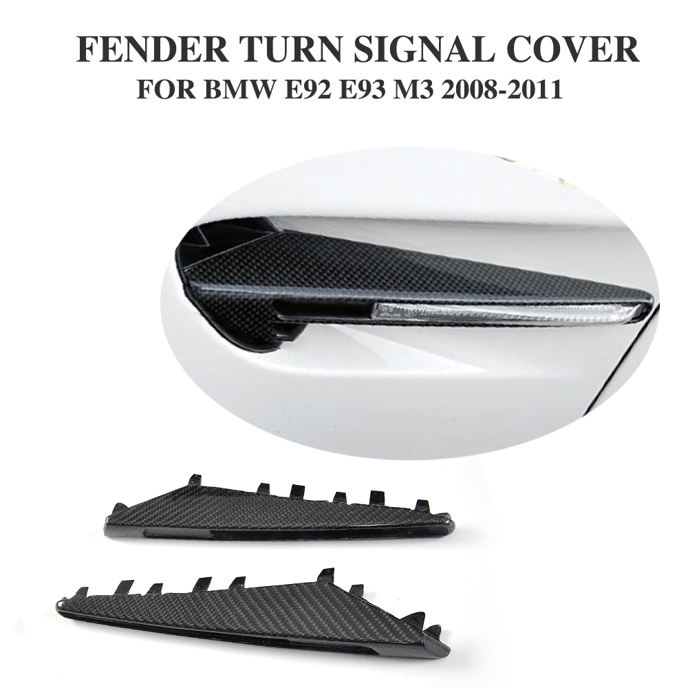 DRY Carbon Fiber fender turn signal cover decorative for BMW 3 Series E92 E93 M3 Convertible Coupe 2 Door 08-11 Car Accessories 2xcar styling car led sticker carbon fiber paper fender turn signal lamp for bmw e46 e82 e87 e88 e90 e91 e92 e60 e61 accessories