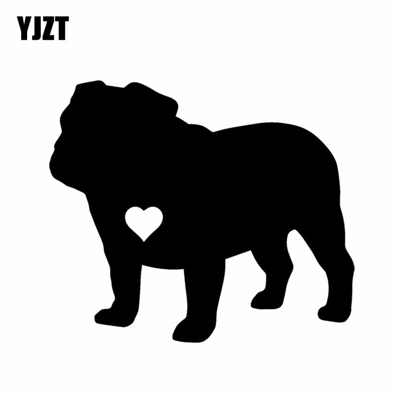 YJZT 14CM*12.1CM Adopt Material Vinyl Car Sticker English Bulldog Heart Silhouette Black/Silver C2-3151