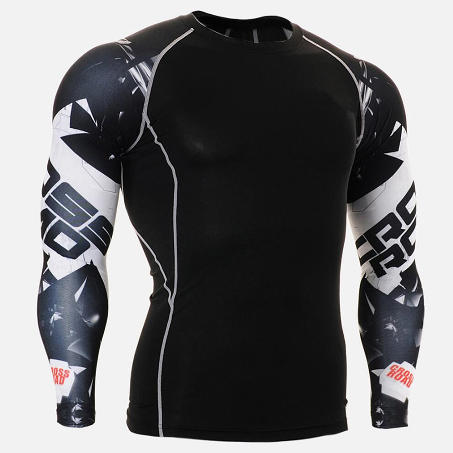 Rashgard Sport Shirt Men 3D Print Gym Long Sleeve Running Shirt Punisher T Shirt Compression Shirts Fitness Dry Fit T-shirt