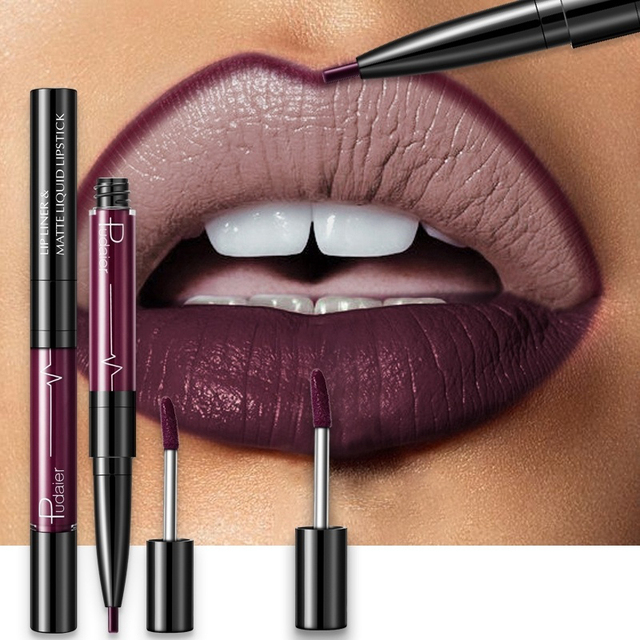 16 Color Double-ended Lipstick Lips Makeup Easy to Wear Matte Lip Gloss Lipliner Pencil Red Nude Pink Purple Liquid Lipsticks