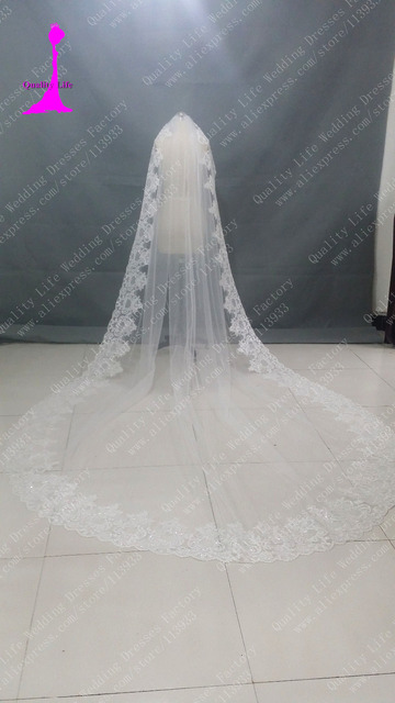 One Layer voile mariage 4 meters Tulle Lace with crystal veu de noiva cathedral Wedding Accessories Bridal Veil velos de novia