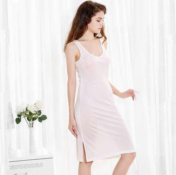 587fd3a3f 50% Silk 50% Viscose Knit Stretchy Full Slip Sleepwear Nightdress Chemise  Nightgown SG322