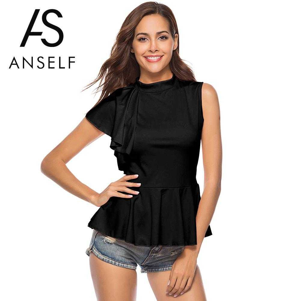 Anself One Side Flounce Sleeve Ruffle Peplum   Blouse   Black High Neck Cap Sleeve Elegant Top 2018 Women Casual Summer   Blouse     Shirt