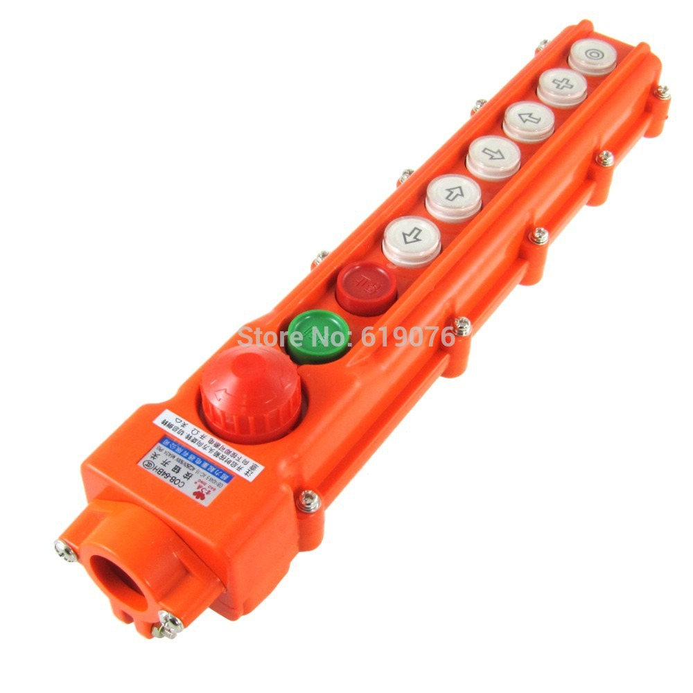 Hoist Crane 6 Ways Pushbutton Switch Up Down Rain Proof w Emergency Stop Knob COB-64BH ac 600v 10a normal close plastic shell red sign emergency stop mushroom knob switch 22mm elevator emergency stop switch