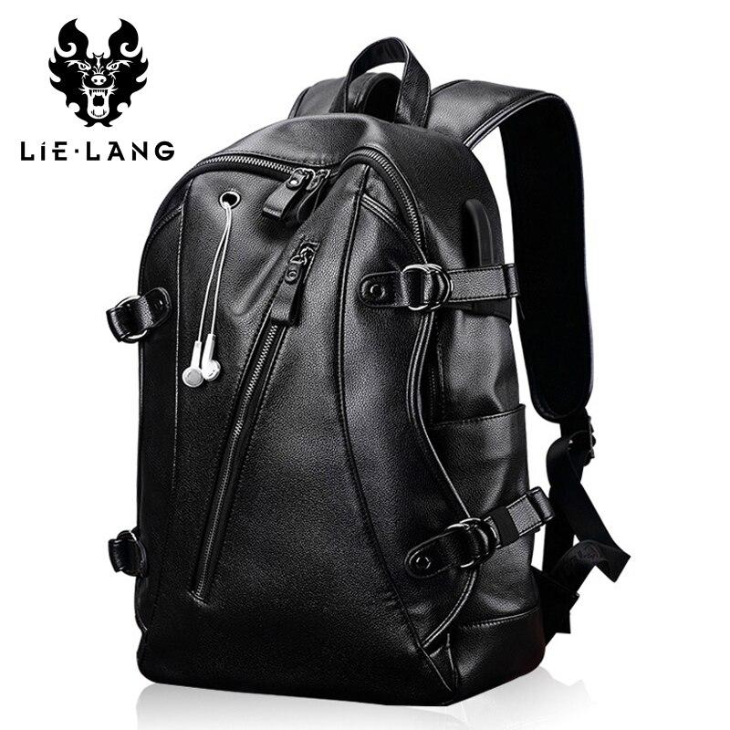 LIELANG cuir sac à dos hommes USB Charge sac à dos Anti-vol étanche ordinateur portable mâle mode sacs à dos pour Teenger PU sacs d'école - 6