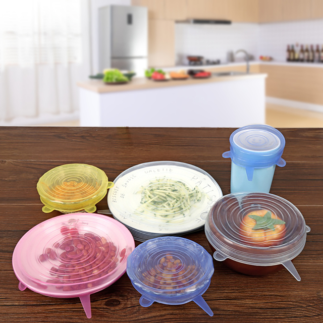 Silicone Stretch Lids Keeping Food Fresh Reusable Stretch and Seal Lids Bowl Covers Eco-friendly Stretch for Container 6 Packs 1