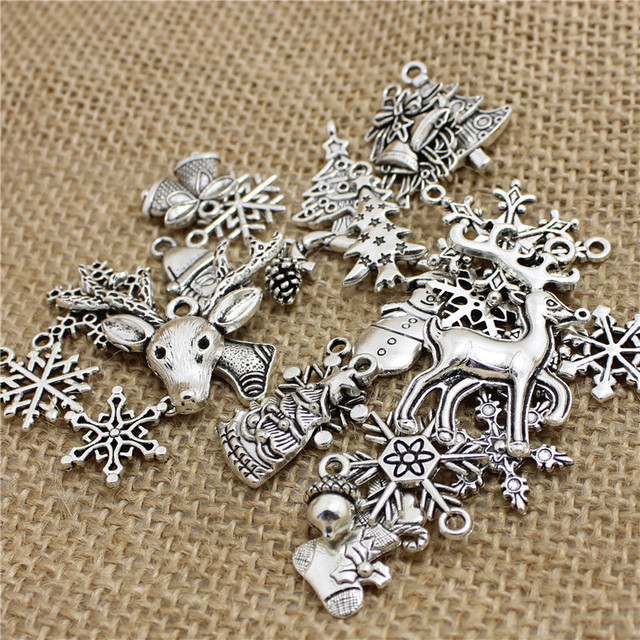 60Pcs Mixed Antique Silver Christmas Charms DIY Jewelry Making