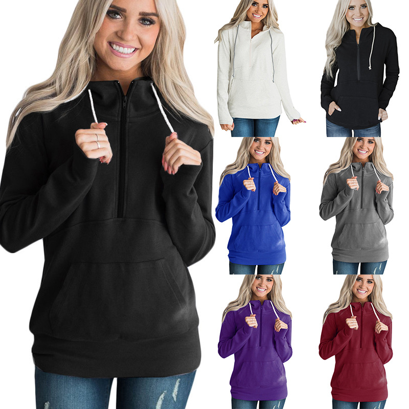S-3XL women autumn winter hoodie long sleeve tops blouse pure color zipper pullover tops blouse