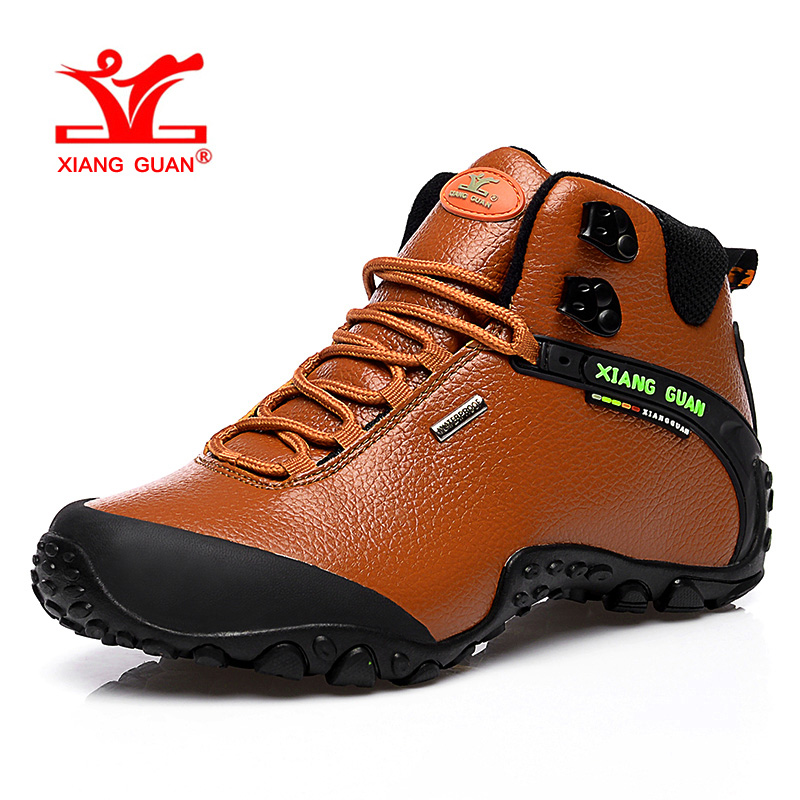XIANG GUAN Woman Hiking Shoes Women High Microfiber Trekking Boots Brown Waterproof Sport Climbing Shoe Outdoor Walking Sneakers цена