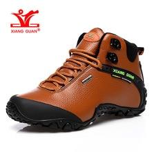 XIANGGUAN Woman Hiking Shoes Women High Leather Trekking Boots Brown Waterproof Sports Climbing Shoe Outdoor Walking Sneakers
