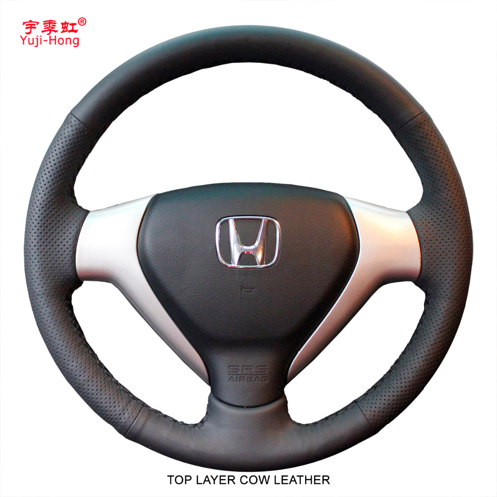 Yuji Hong Top Layer Genuine Cow Leather Car Steering Wheel Covers Case for HONDA Jazz Fit