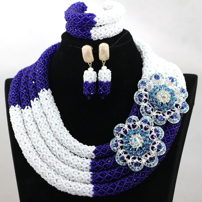 Gorgeous 4 Layers White Mix Royal Blue African Bride Full Necklace Jewelry Set Wedding Nigerian Beads 2017 Free Shipping HX900 цена и фото
