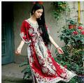 2016 Beach Dress Kaftan Ethnic Rayon Maxi Dress Women Vintage Tunic Boho Casual Printed Long Dress Vestidos De Fiesta J1513