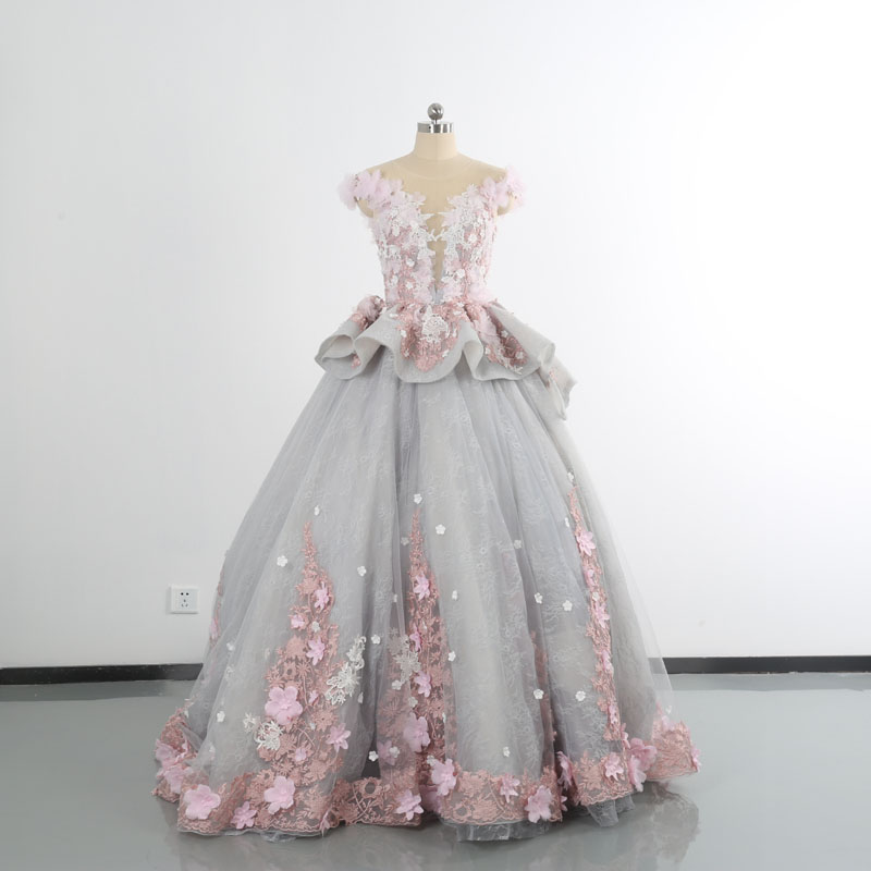 Private custom Special three dimensional flower sequins new colorful elegant personalized wedding dress