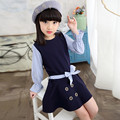 2017 Spring Autumn Girls Dresses Long Sleeve With A Bow Dress Blue Striped Child Clothing