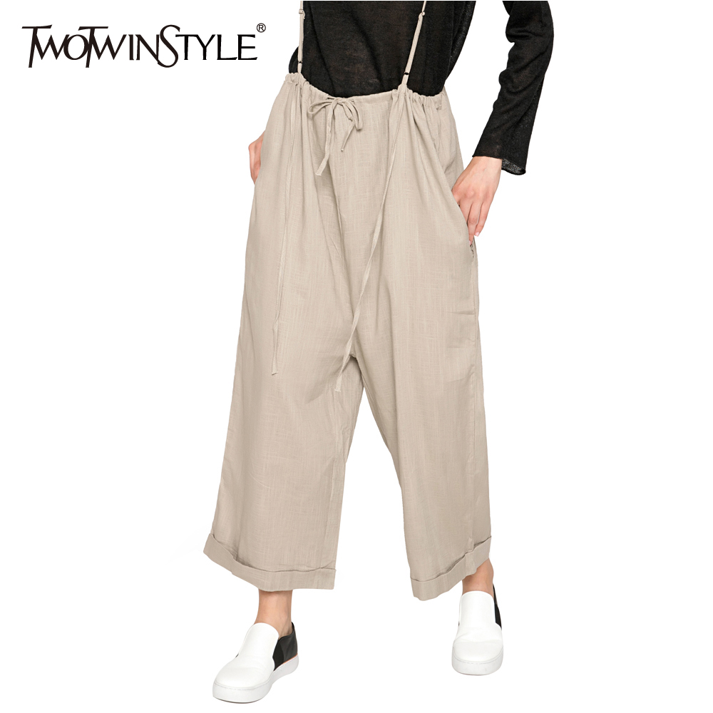 TWOTWINSTYLE Casual Lace up Overalls Trousers for Women Wide Leg Pants Palazzo Fashion Loose Cotton Linen Clothes Large Big Size