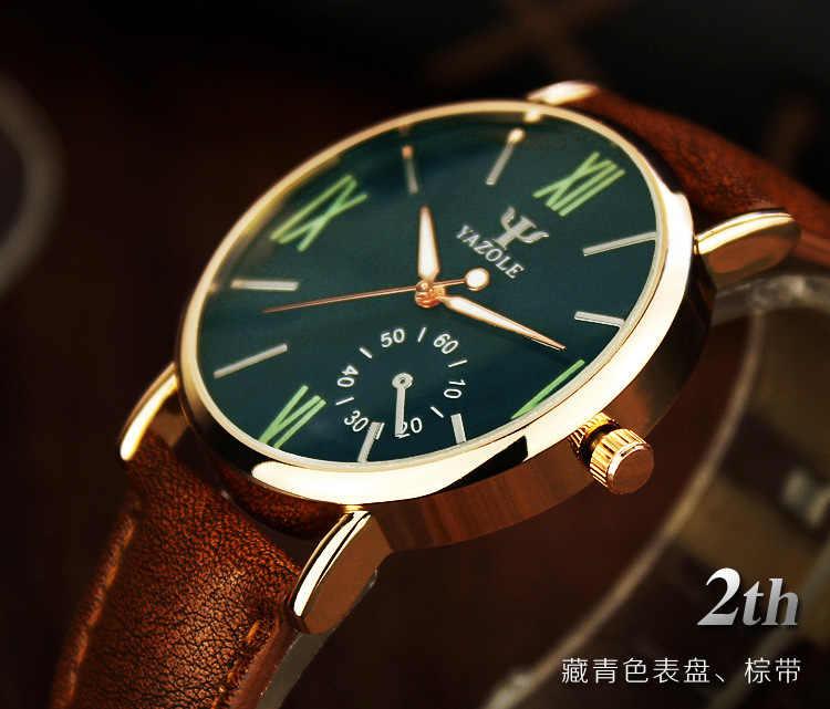 2018 YAZOLE Модные мужские наручные часы мужские s часы лучший бренд класса люкс синие часы Мужские кварцевые часы кожаные мужские часы reloj hombre