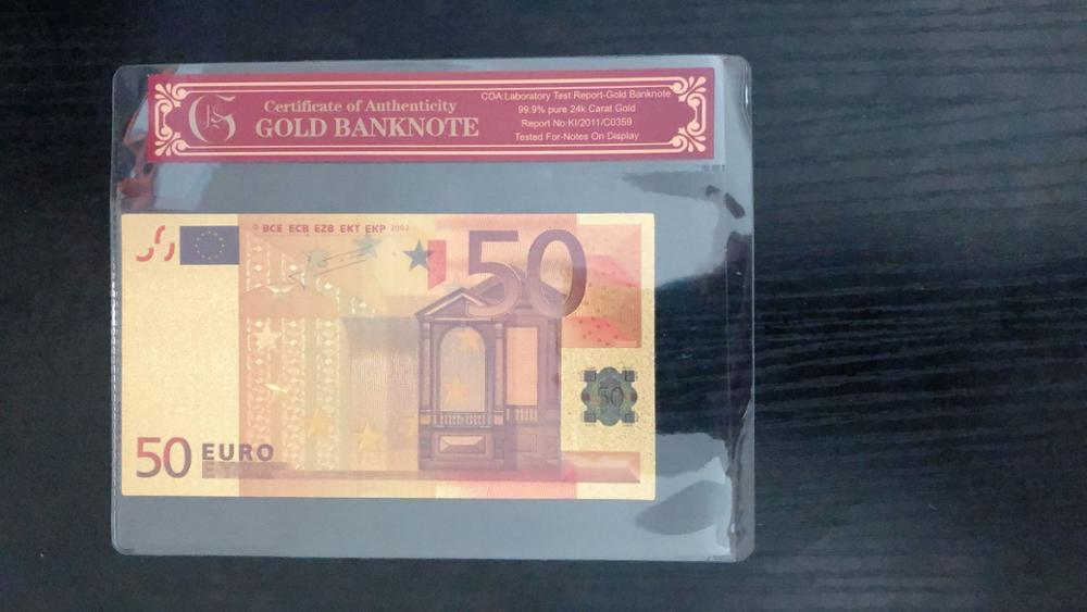 Fake Gold Banknote Euro Banknotes 50 Euros Pure Gold Foil Paper Money Gold Bill Note With COA Frame For Collection Banknotes