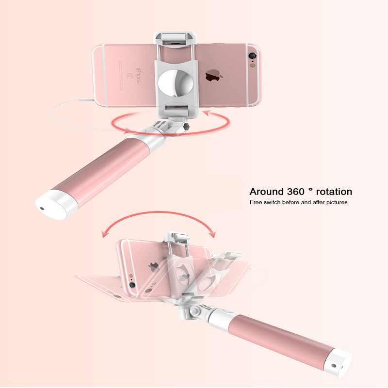 ミニ有線ボタンシャッターselfieスティック折りたたみポータブルサポートisoとandroid用トラベルギフト
