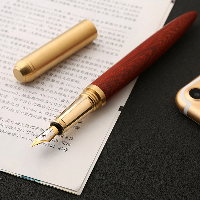Luxury Wood Fountain Pen High Quality Wooden Metal School Office Writing Ink Pens Nib 0.7mm Stationery Gifts Supplies