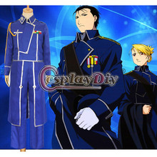 Cosplaydiy Anime Fullmetal Alchemist Cosplay Roy Mustang Costumes Adult Halloween Military Uniform Suit Costum Made D0723