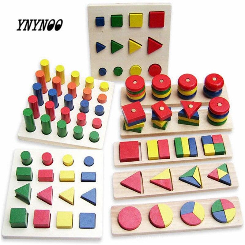 YNYNOO Birthday Gift Teaching 8Pcs Set Geometry Shape Learning Classic Blocks Montessori Wooden Toy Educational Baby Toy K418 baby toys shape sorting cube classic educational wooden toys for children intellectual toy geometry box birthday gift