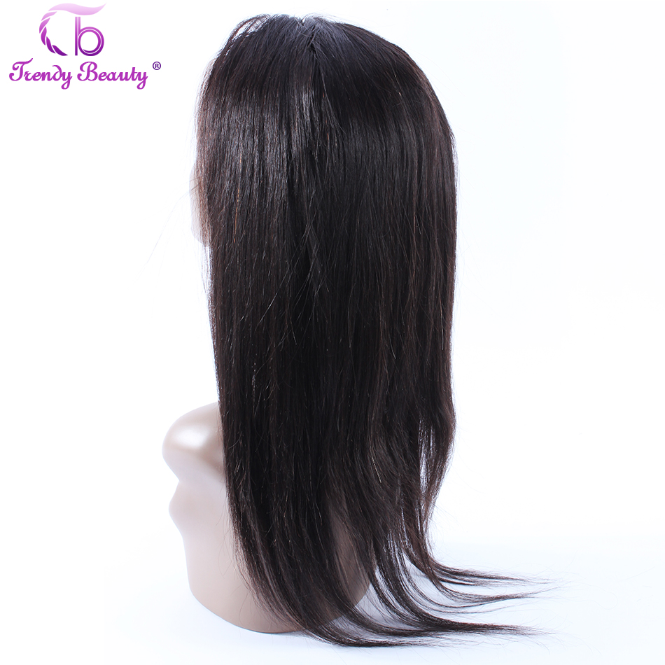 Trendy Beauty Hair Brazilian Straight Human Hair 360 Full Lace Frontal Straight Non-Remy hair Frontal Closure Free Shipping
