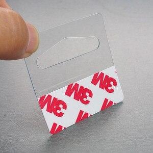 Image 2 - Kunststoff PVC PET Peghooks Hängen Hängen Tab J Haken auf Waren Paket Box Tasche Kleiderbügel Display Selbstklebende Stil 400 stücke
