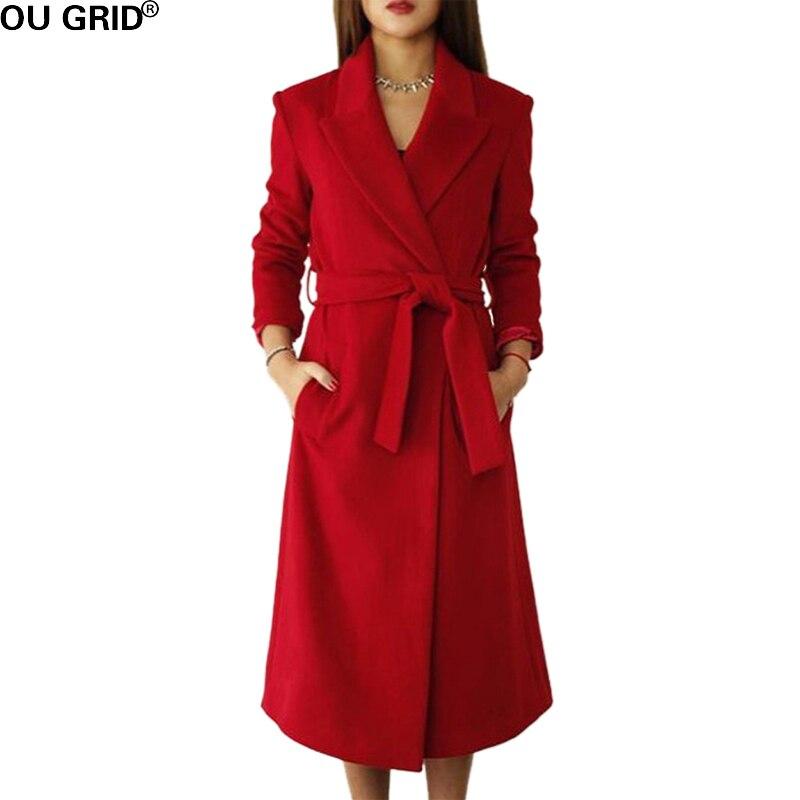Winter Autumn Long Coat Women Slim Turn down Collar 30 Wool High Quality Warm Out Wear