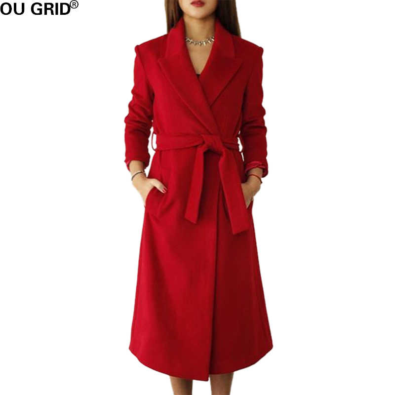 Winter Autumn Long Coat Women Slim Turn-down Collar 30%Wool High Quality Warm Out Wear Casual Coat With Belt