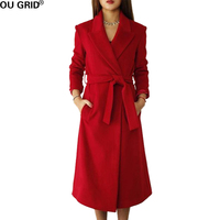 Winter Autumn Long Coat Women Slim Turn down Collar 30%Wool High Quality Warm Out Wear Casual Coat With Belt