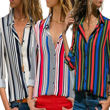 цена на Women Long Sleeve Loose Chiffon Blouse V Neck Casual Lady Top plus size chiffon flower/strip printed summer Chemisier