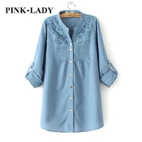 Plus Size Maxi Women Clothing Fashion Lace Crochet Long Sleeve Cotton And Linen Blouse Ladies Casual