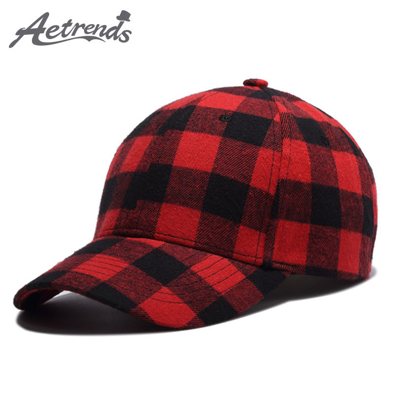 [AETRENDS] Black red classic plaid baseball cap tennis golf sports caps for women men's hat autumn winter hats bone Z-5272