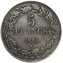 1835 Belgium 5 Francs Silver Coins Copy(China)